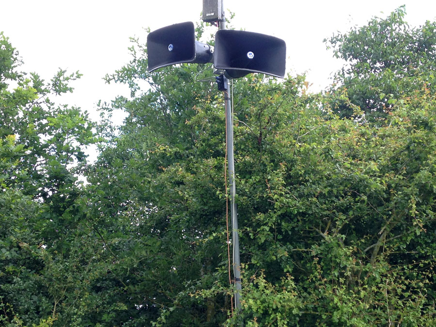 Outdoor Communications | Call up system – long throw speakers used as a call up system for a horsebox parking area