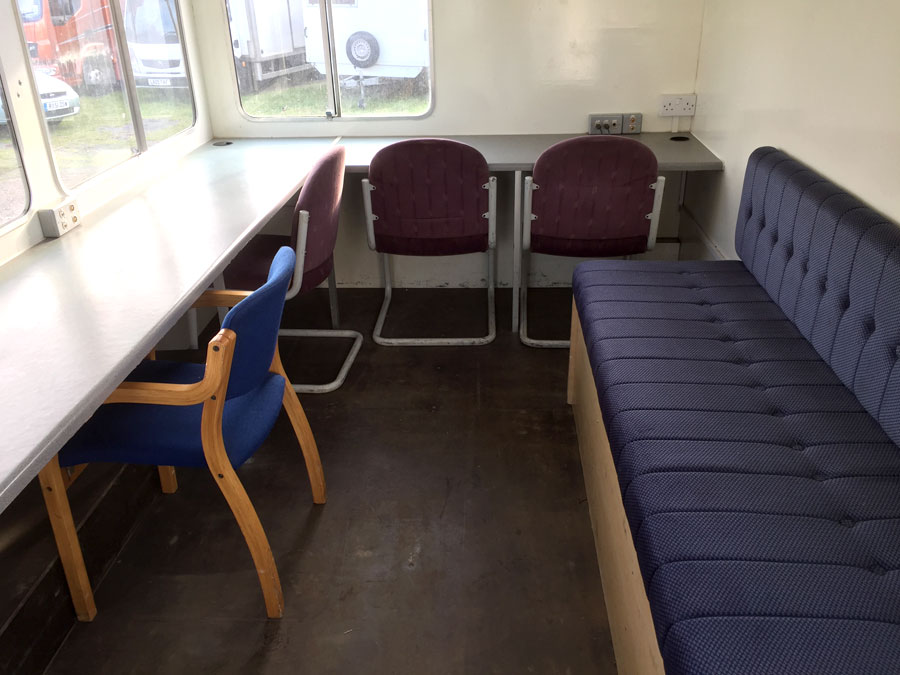 Commentary Boxes | Interior – Some of our units have comfy bench seats