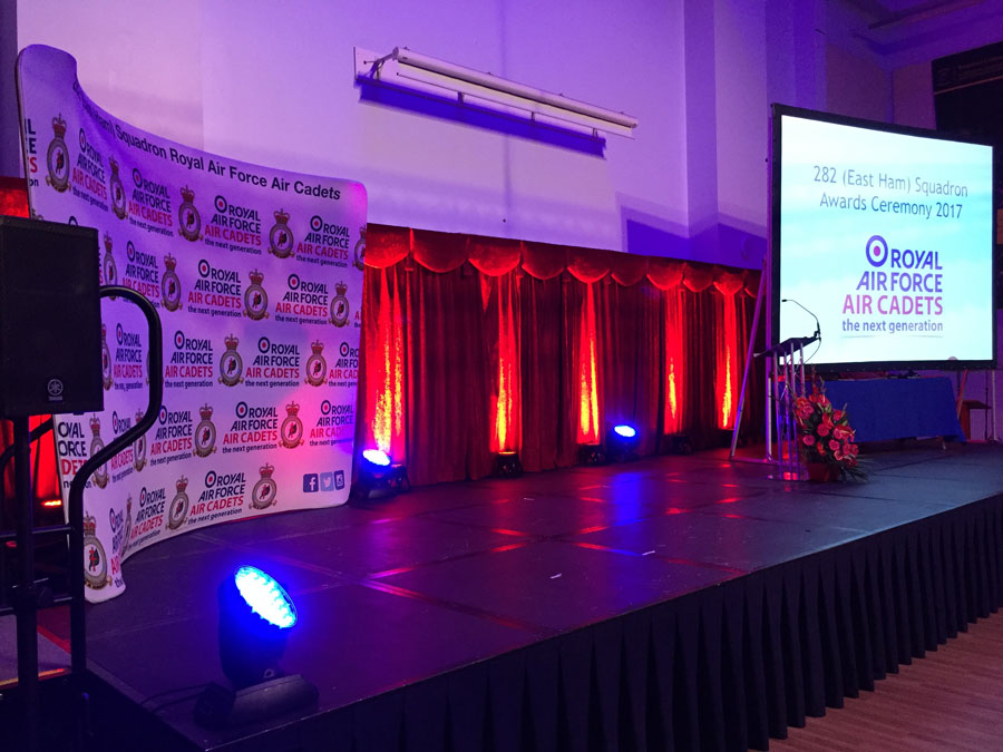 Production | Sound, lighting and AV services for an Air Cadets awards evening