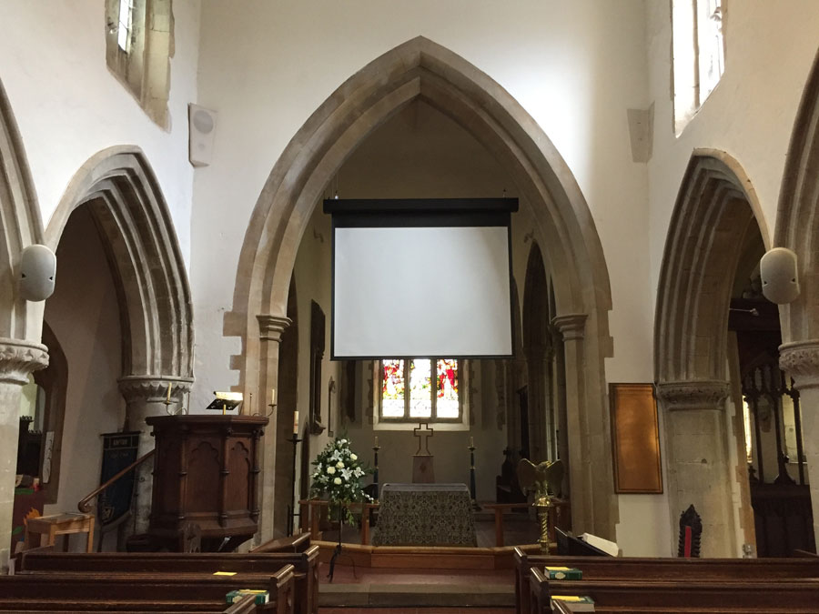 Grade 2 Listed - PA and projection installation in a grade 2 listed church
