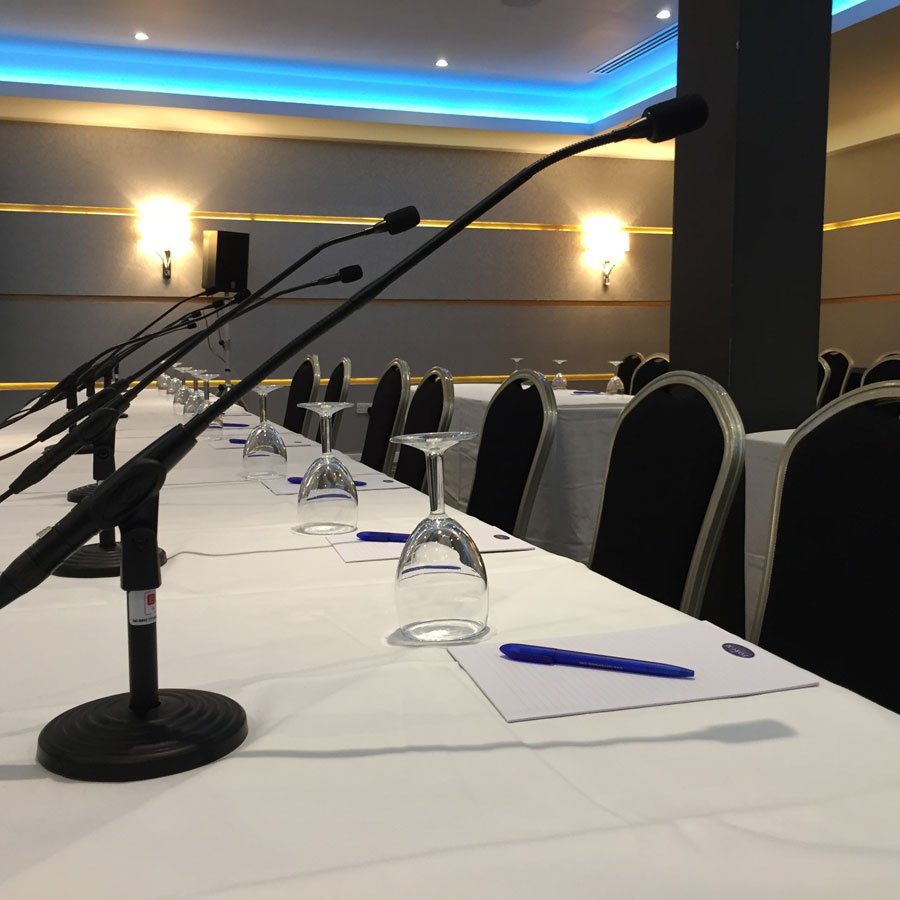 Production | 20 delegate microphones for live and recording feeds at a council meeting
